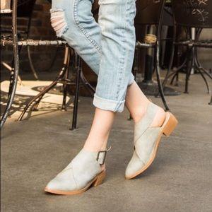 Mi.im Fran Mule Boot Taupe Cross Buckle Leather 8